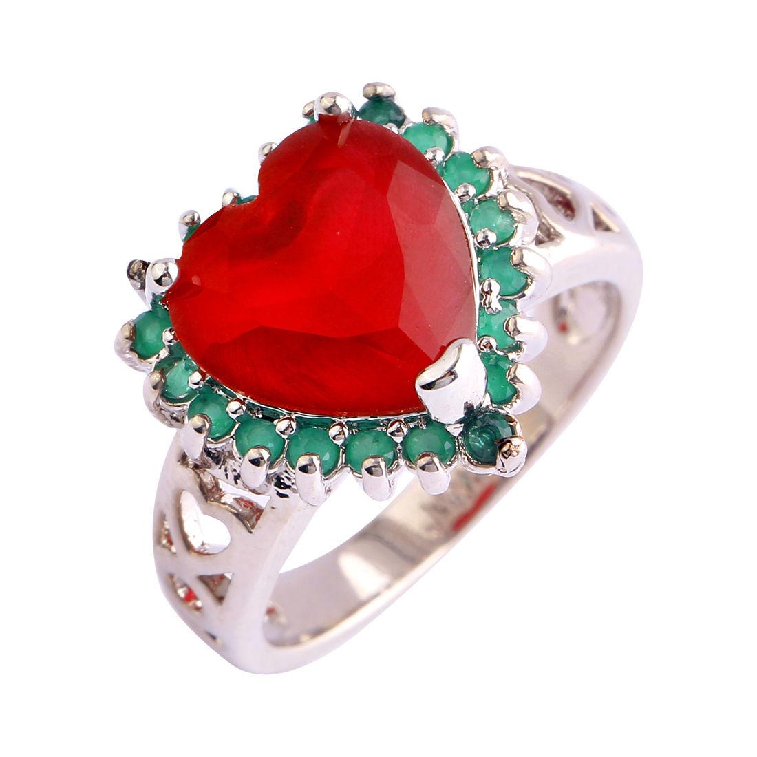 Δαχτυλίδι η καρδιά της αγάπης με ρουμπίνι και σμαράγδια - Alinda ... 1937b9b7c60